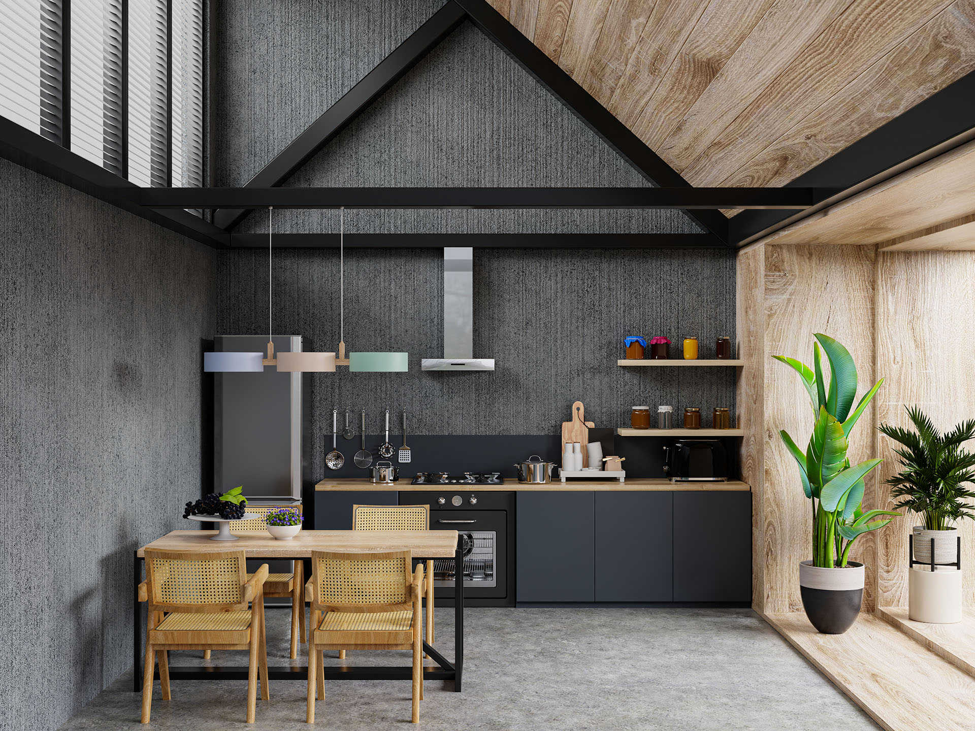 Interior of spacious kitchen with concrete wall.3d rendering