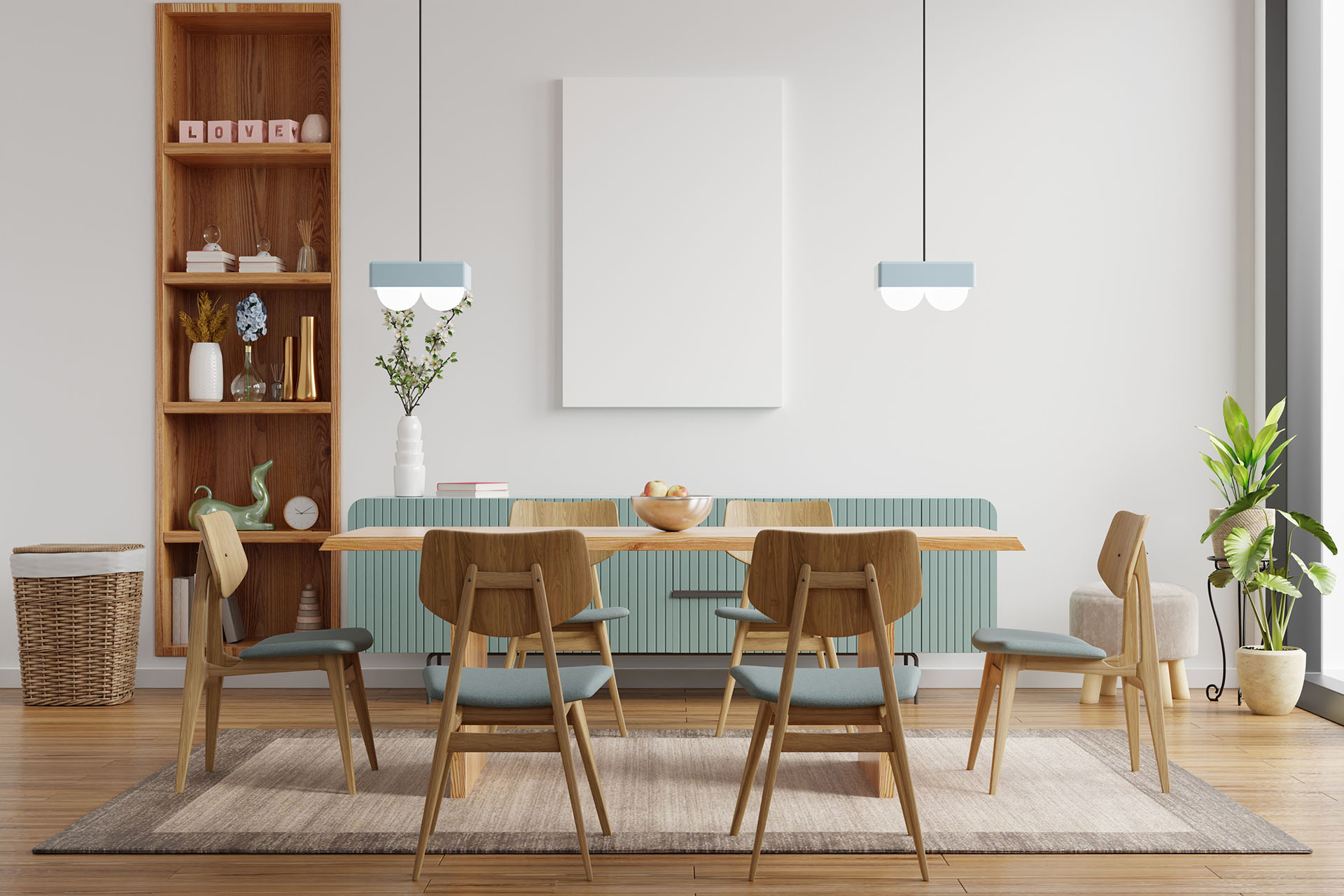 Mock up poster in modern dining room interior design with white empty wall.3d rendering